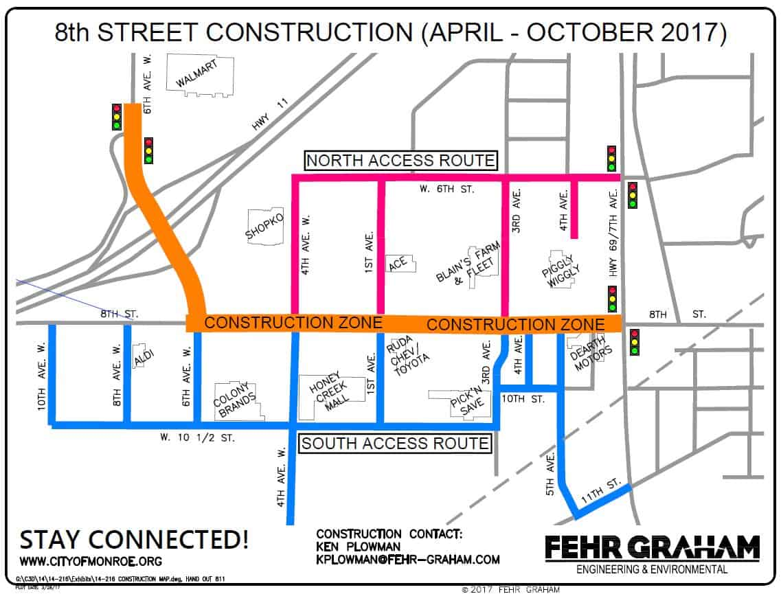 Construction Map for 8th Street