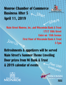 April Business After 5 @ Main Street Monroe, Wisconsin Bank and Trust | Monroe | Wisconsin | United States